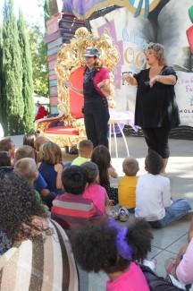 Sherri Duskey Rinker and sign language interpreter